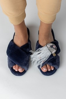 Laines London Classic Fluffy Crossover Slippers