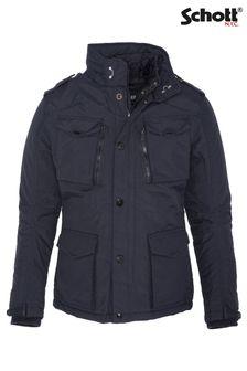 Schott Field Jacket With Detachable Fake Liner  Hidden Hood