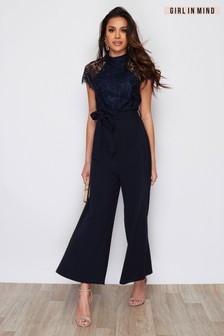 Girl In Mind Gracie High Neck Neck Culotte Jumpsuit Navy (P50396) | $58