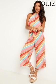 Quiz Stripe Tie Belt Culotte Jumpsuit (P50869) | $46