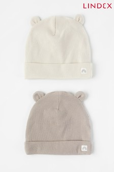Lindex Baby 2 Pack Ribbed Hat With Ears