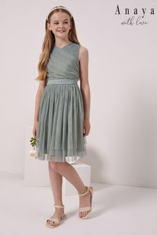 Anaya with Love Girl Tulle Wrap Front Bow Back Dress