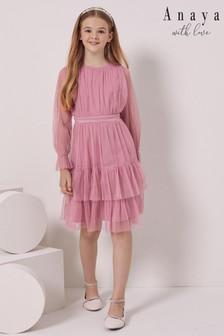 Anaya With Love Girls Long Sleeve Tiered Dress