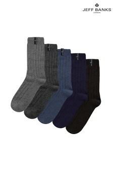 Jeff Banks Mens Wool Blend Boot Socks Five Pack
