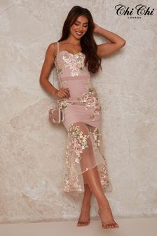 Chi Chi London Peplum Floral Embroidered Lace Bodycon Dress In Pink