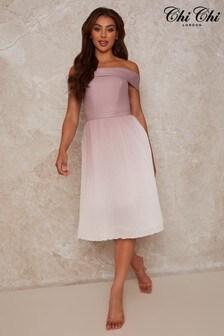 Chi Chi London Bardot Ombre Pleated Midi Dress In Pink