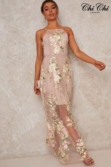 Chi Chi London Sleeveless Embroidered Lace Maxi Dress