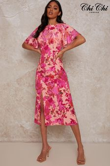 Chi Chi London Floral Mix Print Midi Dress