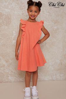 فستان مرجاني مطرز من أعلى للبنات من Chi Chi London
