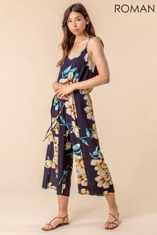Roman Floral Print Split Leg Jumpsuit (P52941) | $53