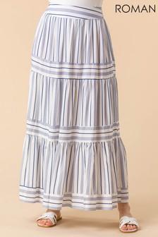 Roman Tiered Print Maxi Skirt