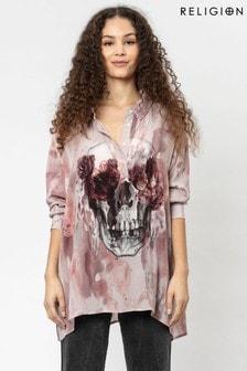 חולצת אוברסייז עם דוגמת גולגולת ופרחים של Religion
