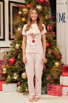 Society 8 Ladies Matching Family Christmas Short Sleeve Pyjama Set