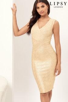 Lipsy Metallic V Neck Bandage Dress