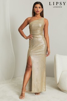 Lipsy Gold One Shoulder Maxi Dress