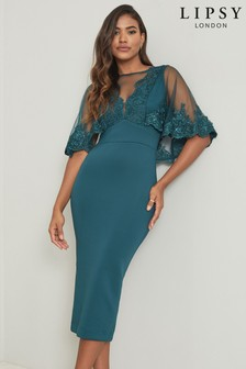 Lipsy Embroidered Cape Midaxi Dress