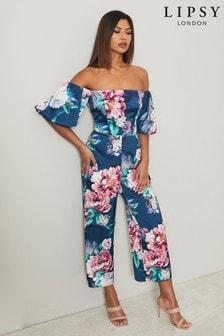 Lipsy Printed Bardot Puff Sleeve Jumpsuit (P55956) | $84