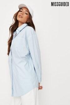 חולצת פסטל של Missguided מבד פופלין בגזרת אוברסייז מוגזמת