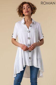 חולצה אסמיטרית עם כפתורים של Roman