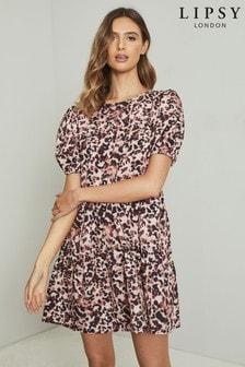 Lipsy Printed Short Sleeve Smock Dress