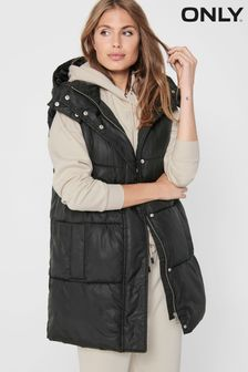 Only Padded Longline Gilet With Hood