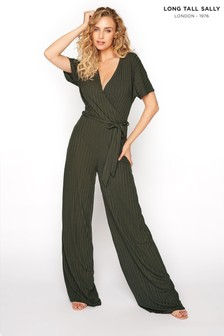 Long Tall Sally Ribbed Wrap Front Jumpsuit (P65194) | $48