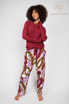 Cyberjammies Peach Floral Print Pant and Burgundy Slouch Top