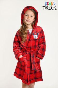 חלוק רחצה אדום בדוגמת Minnie Mouse של Disney לבנות של Brand Threads