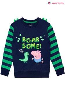 Character George Pig Dinosaur Stripe Sweatshirt