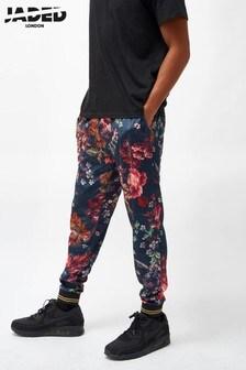 Aksamitne spodnie dresowe w antyczne motywy kwiatowe Jaded London