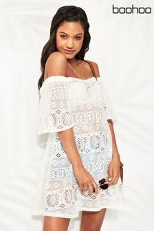 Boohoo Gehäkeltes Kleid mit Carmenausschnitt