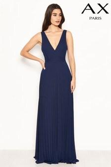 AX Paris - Lange geplooide chiffon jurk met kanten bandjes