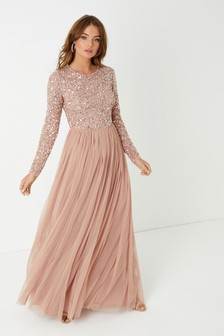Maya Long Sleeve Delicate Sequin Maxi Dress