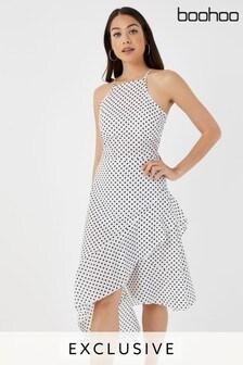 Boohoo Polka Dot Asymmetric Hem Dress