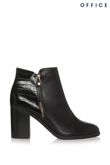 Office Alban Zip Block Heel Ankle Boots