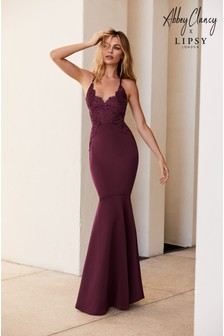 Abbey Clancy x Lipsy Appliqué Artwork Fishtail Hem Maxi Dress