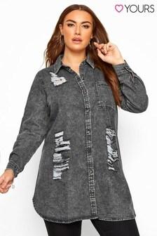חולצת ג'ינס בצבע משופשף בהיר עם קרעים של Yours למידות גדולות