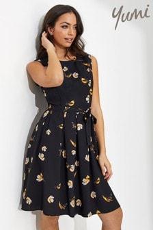 Yumi Bird Print Skater Dress