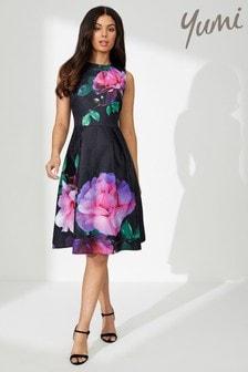 Yumi Rose Print Jacquard Dress