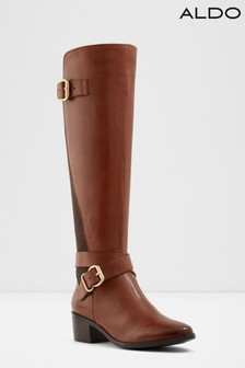 Aldo Leather Riding Boot with Buckle Detail