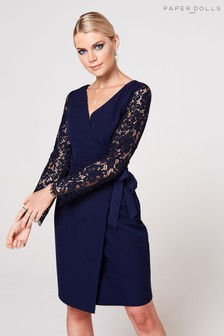 Paper Dolls Lace Sleeve Wrap Dress