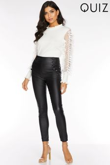 Quiz High Waist Button Detail Trousers