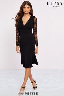 Kopertowa sukienka z długim rękawem wykończonym rzęskami Lipsy Petite