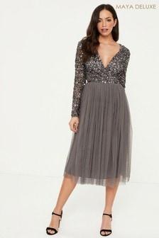 Maya Embellished Wrap Long Sleeve Midi Dress