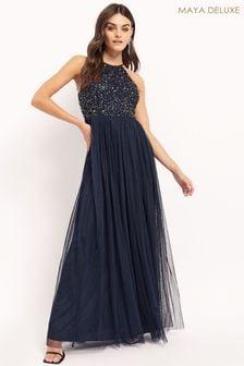 Maya Halter Neck Delicate Sequin Maxi Dress