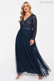 Maya Curve Long Sleeve Embellished Maxi Dress