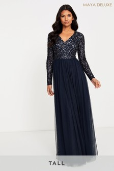 Maya Tall Long Sleeve Sequin Maxi Dress