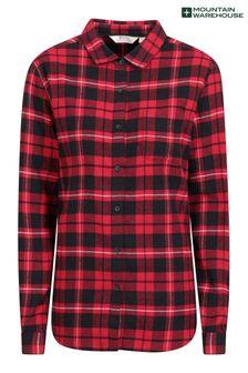 חולצת פלנל בגזרה ארוכה מכותנה מוברשת לנשים דגם Balsam של Mountain Warehouse