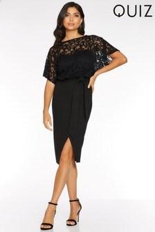 Quiz Lace Batwing Sleeve Tie Waist Midi Dress