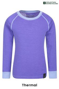 חולצת בסיס לילדים עם צווארון עגול מצמר מרינו של Mountain Warehouse